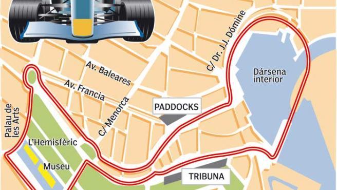 El posible circuito para el gran premio de Fórmula 1 en Valencia. (Marta García)