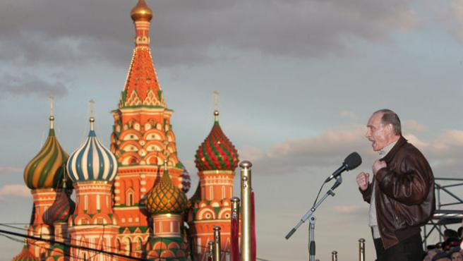 Putin, ayer, durante el discurso de conmemoración de la victoria soviértica sobre la Alemania Nazi. (EFE)