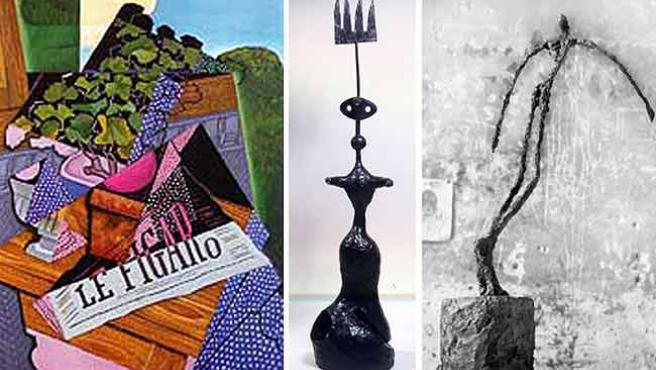 """""""Le pot de géranium"""" (1915), """"Project pour un monument"""" (1981) y """"L'homme qui chavire"""" (1950)."""