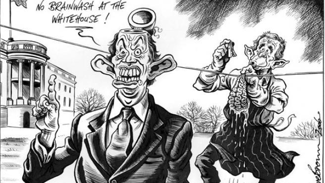 """Viñeta aparecida en el diario The Independent; el bocadillo dice: """"No habrá lavado de cerebro en la Casa Blanca"""" EFE/Dave Brown"""