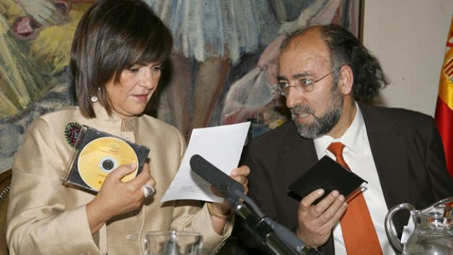 La ministra de Cultura, Carmen Calvo, durante la presentación de PARES.