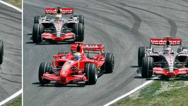 Los instantes del choque entre Massa y Alonso. (Efe)