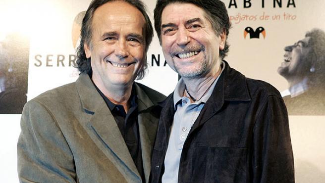 Joan Manuel Serrat y Joaquín Sabina durante la presentación, el jueves, de la gira de conciertos que ofrecerán juntos.