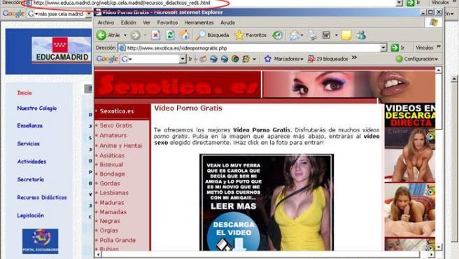 """Página web porno a la que se accedía desde """"Recursos didácticos""""."""
