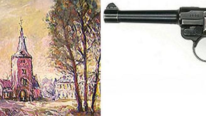 Pintura realiza por Hitler (i) y una pistola modelo luger (d)