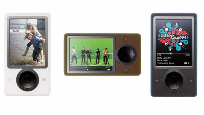 Zune, el reproductor de Microsoft, en sus tres colores.