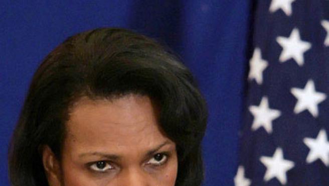 Condoleezza Rice, durante una rueda de prensa en la Casa Banca. (ARCHIVO)