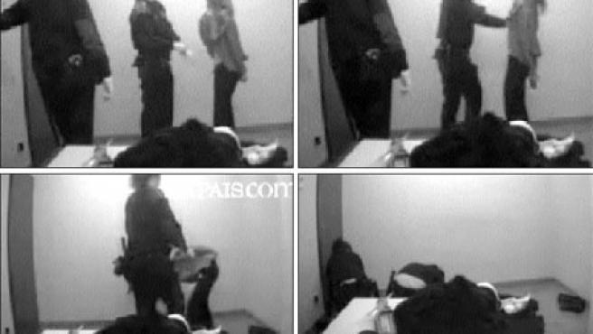 Las imágenes muestran la bofetada que propinó una mosso a la detenida, de origen ruso. (ELPAIS.COM)