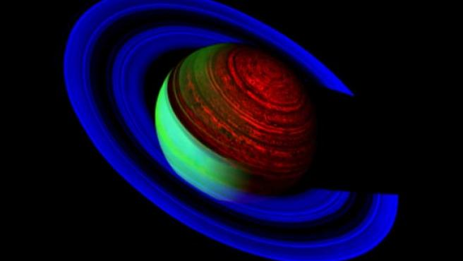 Imagen divulgada por la Nasa que muestra el planeta Saturno donde resaltan los colores azul eléctrico, turquesa y verde del planeta. (EFE).