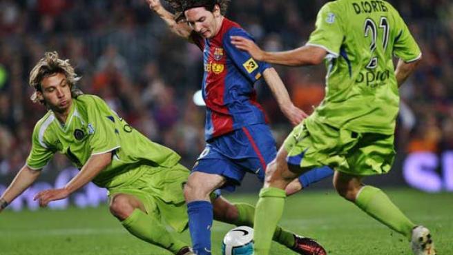Messi, en un partido contra el Getafe (Efe).