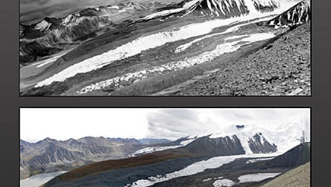 Los glaciares de Qinghai-Tíbet en una imagen de 1981 y en la actualidad. Para 2100 podría no haber ya nieve (Greenpeace).