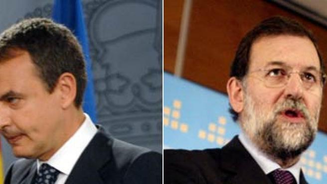 Zapatero y Rajoy en sus comparecencias públicas tras la ruptura de la tregua de ETA (EFE/REUTERS)