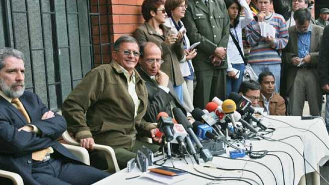 El guerrillero Rodrigo Granda durante la rueda de prensa rueda de prensa.