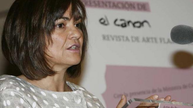 La ministra de Cultura, Carmen Calvo, durante la presentación hoy en Madrid de 'El canon', una nueva revista de flamenco. (EFE)