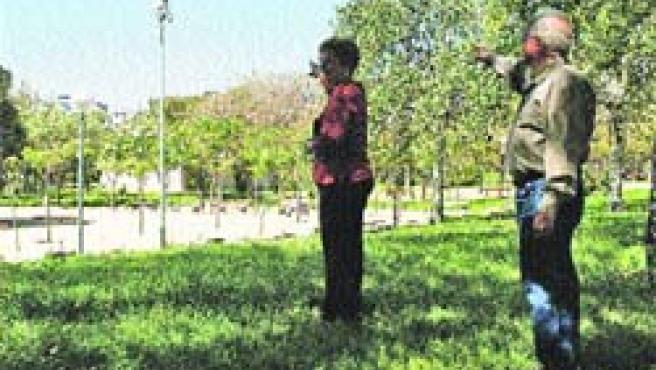 Vecinos señalan las cámaras de vigilancia en el parque Lo Morant.(F. González)