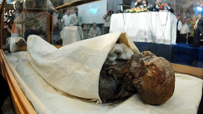 Momia egipcia. La momia de la reina Hatshpsut, de la 18ª dinastía egipcia y con 3.500 años de antigüedad , presentada en el Museo Egipcio de El Cairo. Fue descubierta en 1903 por el arqueólogo británico Howard Carter e identificada recientemente con ayuda de escáner y análisis de ADN.