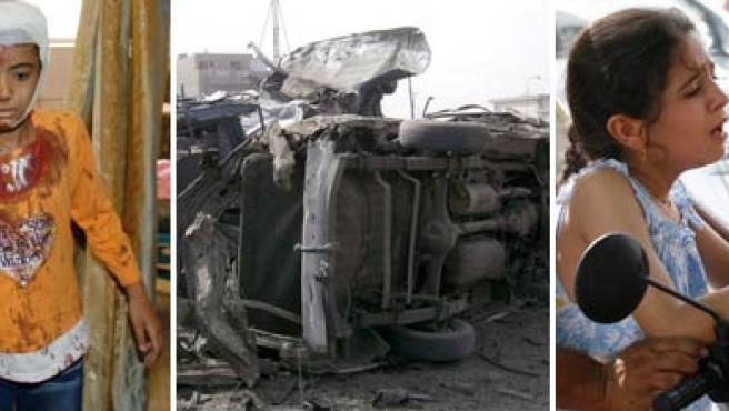 Imágenes de un coche bomba en una estación de autobuses y algunos de los heridos. (REUTERS)