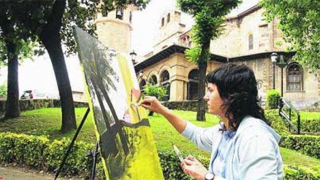 XII Certamen de Pintura al Aire Libre celebrado ayer en Sestao. (Begoña Hernández)