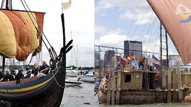 El barco vikingo y la balsa de juncos boliviana. (EFE).