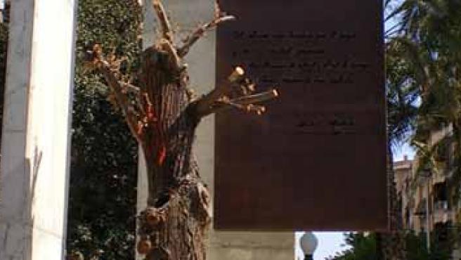Olmo seco y placa de bronce con la inscripción de la estrofa de Machado