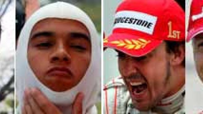 Fisichella, Ralf Schumacher, Hamilton, Alonso, Michael Schumacher y Massa.