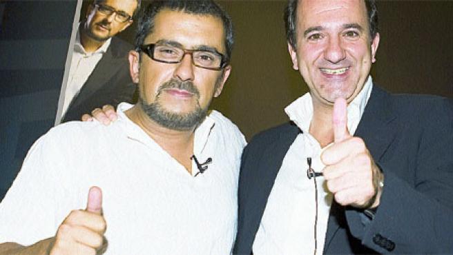 Andreu Buenafuente (izda.) y José Miguel Contreras, en la presentación del programa. (R. Garver / La Sexta)