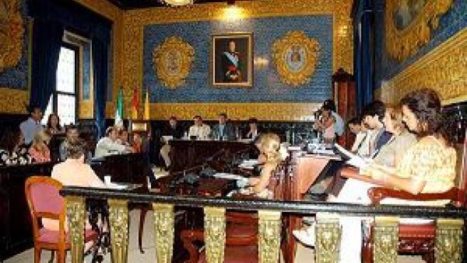 La corporación municipal de Algeciras durante la sesión plenaria de ayer.