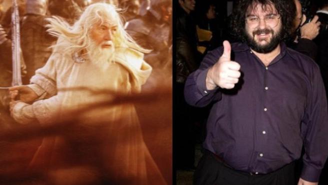 Gandalf (Ian McKellen), uno de los protagonistas de El Hobbit, y Peter Jackson, director de la trilogía de 'El señor de los anillos'.