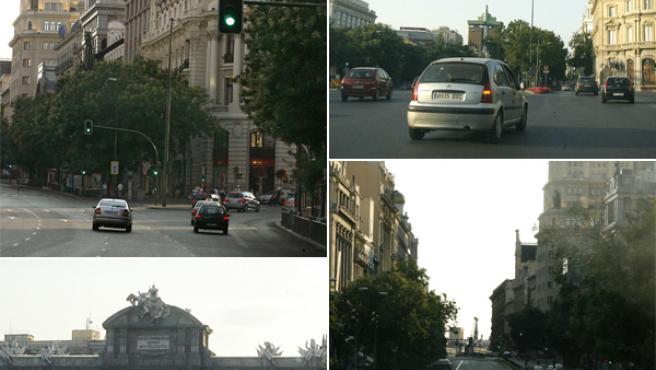Imágenes de las principales arterias de Madrid sin coches durante agosto.