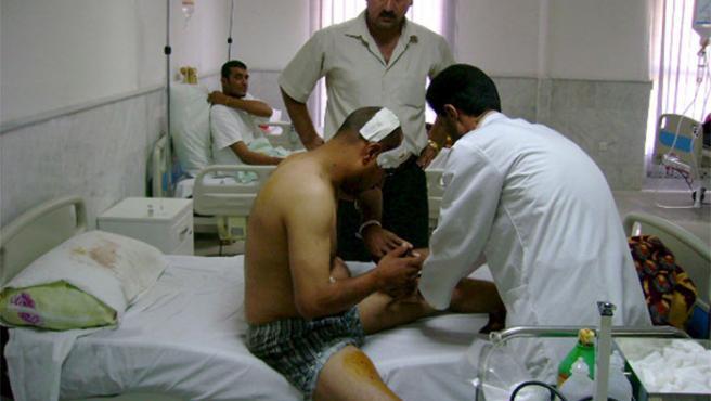 Uno de los heridos del atendo de Irak (Efe)