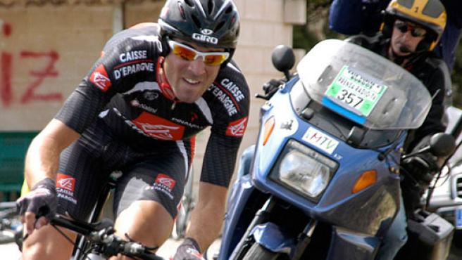 Alejandro Valverde, durante la disputa de la contrarreloj de la Vuelta a Burgos 2007 (FEDERICO VÉLEZ / EFE).
