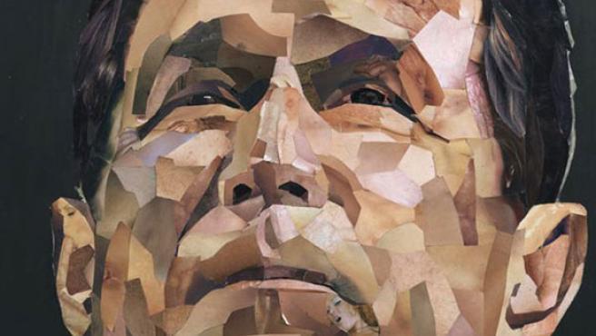 Collage del rostro del presidente Bush, creado por el artista Jonathan Yeo con fragmentos de imágenes pornográficas y expuesto en el Soho londinense.