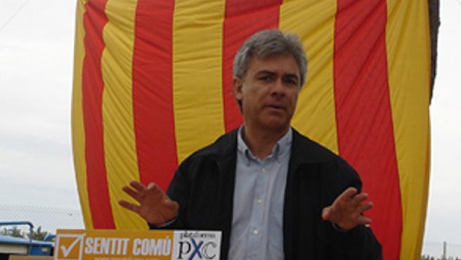 August Armengol durante un mitin del partido Plataforma per Catalunya.