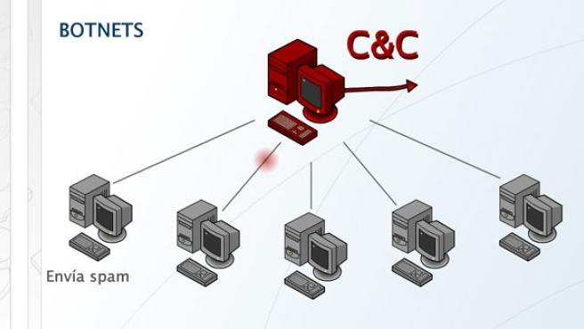 El creador del virus controla los ordenadores infectados desde un centro de control (C&C), que puede ordenar un ataque o un envío de spam.