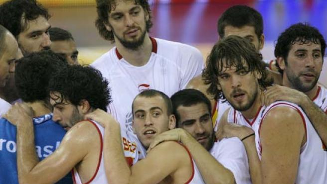Los jugadores de la selección española tras imponerse a Israel (Efe).