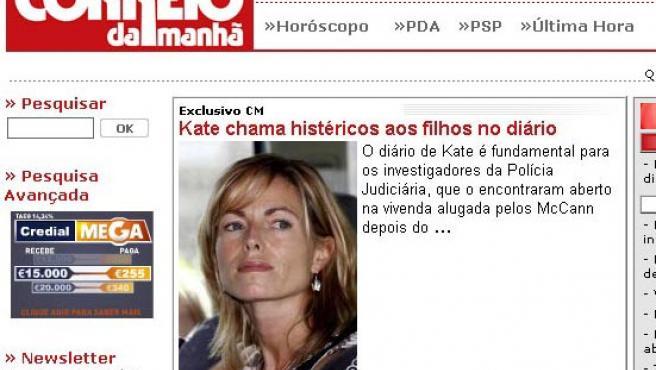 Portada de la página web del diario portugués Correo da Manha.