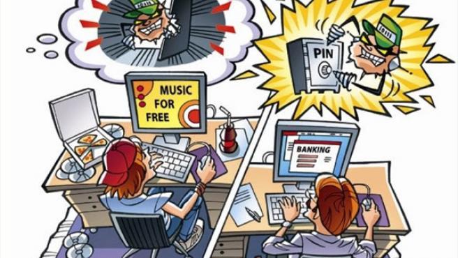 Viñeta sobre los peligros de Internet.