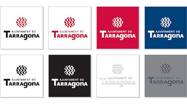 Variaciones cromáticas del emblema de Tarragona.