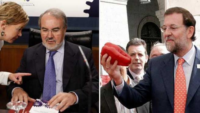 Solbes y Rajoy, en sus diferentes actos de hoy (Efe)