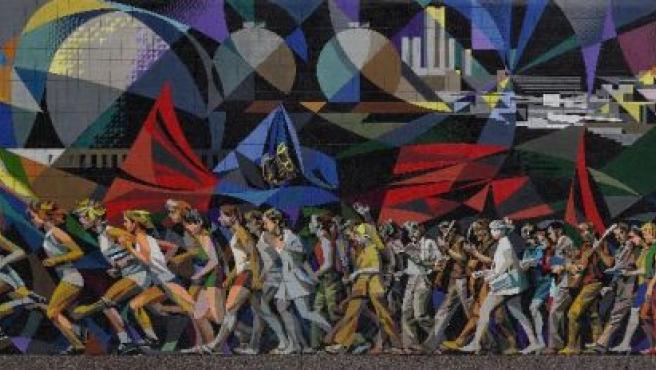 Boceto de La marcha de la juventud hacia el futuro, de Josep Renau.