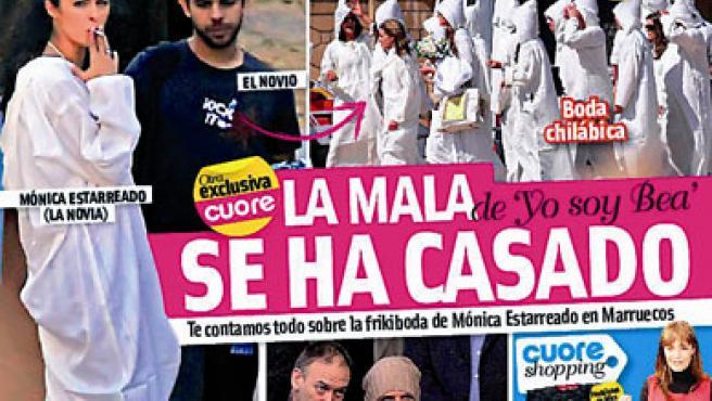 Mónica Estarreado fuma junto a su novio en su boda en Marruecos (Revista Cuore ).