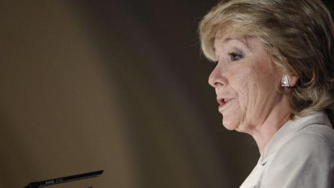 Esperanza Aguirre, durante su conferencia en el Fórum Nueva Economía.