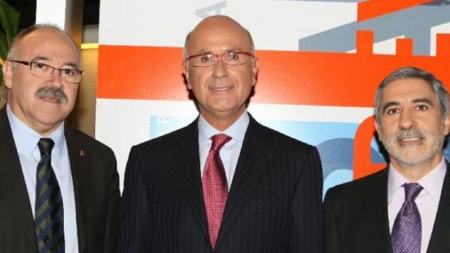 Carod Rovira, Duran i Lleida y Llamazares, antes de participar en el programa de TVE 'Tengo una pregunta para usted' (EFE).