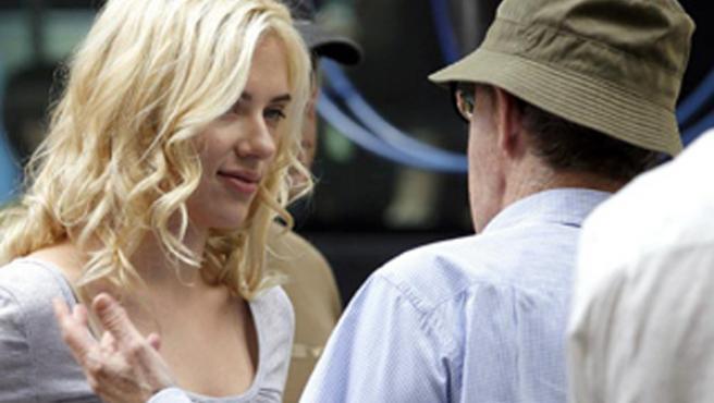 Scarlett Johansson y Woody Allen durante su rodaje en Barcelona.