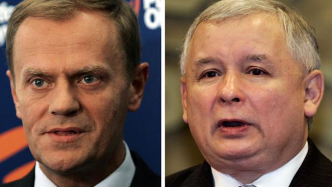 El Primer Ministro Jaroslaw Kaczynski (derecha) y el líder de la oposición Donald Tusk (izquierda).