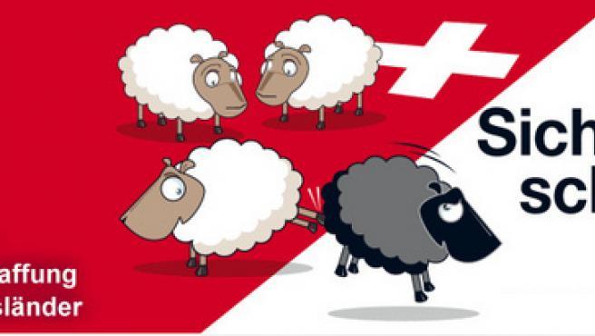 """Tres ovejas blancas y una negra con el título: """"Creando seguridad"""". (AUSSCHAFFUNGSINITIATIVE.CH)"""