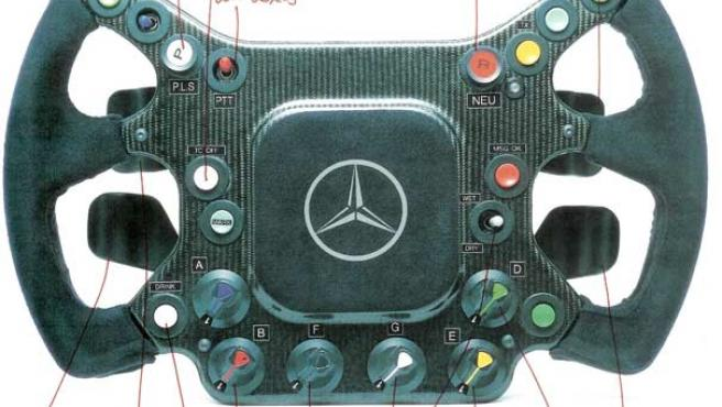 El volante del monoplaza de McLaren, con las anotaciones manuscritas de De la Rosa.