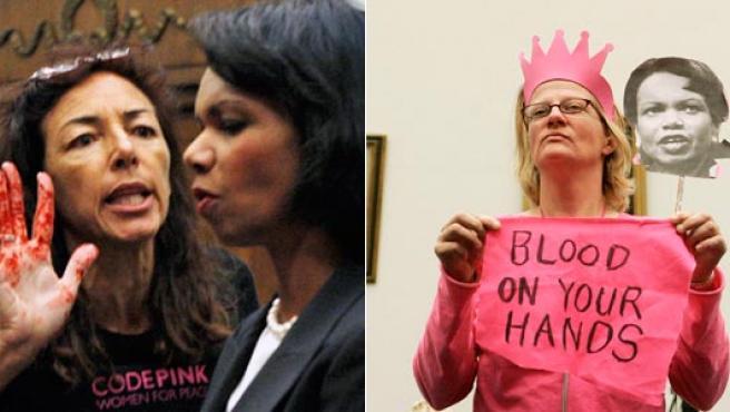 Condoleezza Rice y las activistas de 'Code Pink'.
