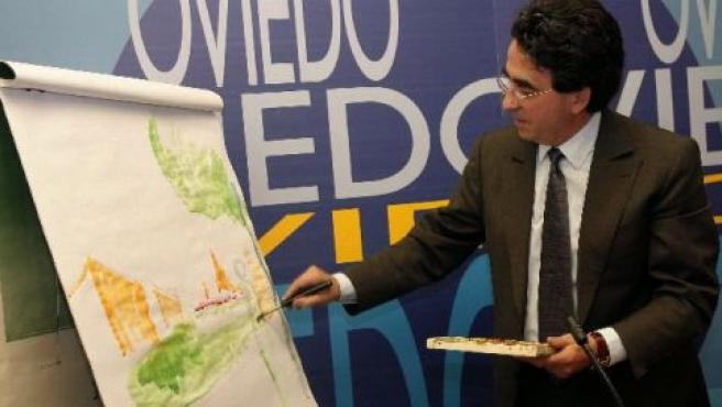 El Aruitecto Santiago Calatrava bocetó a la acuarela su proyecto para la empresa Jovellanos XXI en la parcela de El Vasco.