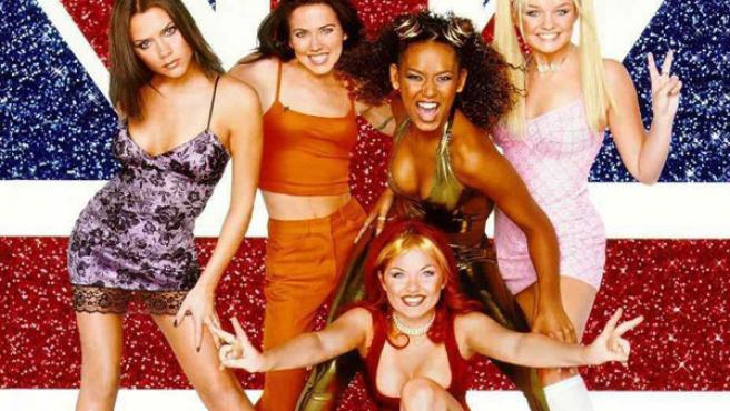 British girl band Spice Girls in front of a Union Jack